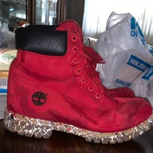Red Customized Camp Timberlands